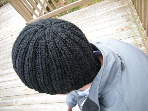Classic Black Hat- Great for Men, Guys - Ribbed and Stretchy