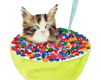 "CEREAL KILLER Cat with Cataracts 8.5 x 11"" print by Ray Young Chu"