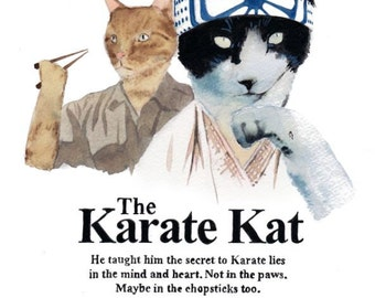 "The Karate Kat 8.5 x 11"" print by Ray Young Chu (Karate Kid with Mr. Meowgi)"