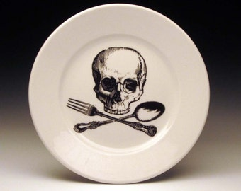 skull and cross-utensils dessert plate