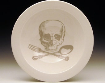 skull and cross utensils cereal BOWL in GHOSTIE GREY