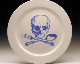 skull and cross-utensils 9 inch dinner plate in BLUE