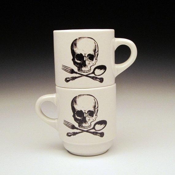 set of 2 skull and cross utensils ESPRESSO cups
