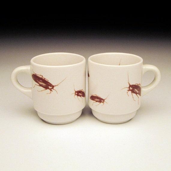 cockroach espresso cups Set of 2 creepy crawly