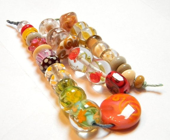 Orphan lampwork glass beads - Yellows