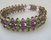 Lime Green and Pink Chain Maille Bracelet - HALF PRICE