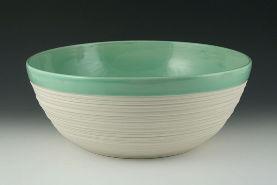 Bowl - Large Groove Serving Bowl in Mint Green