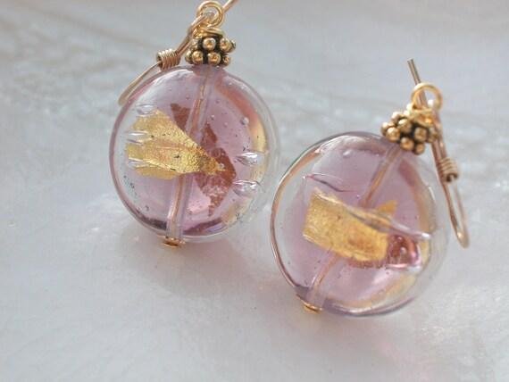 Venetian Murano Glass Amethyst Earrings