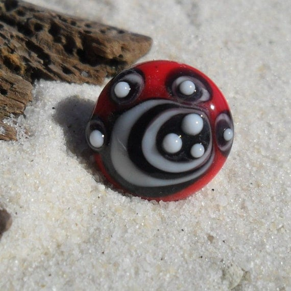 Lampwork Button, Shank Style Red White Black, SRA Handmade