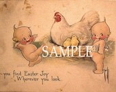 Kewpies, Easter,Big Hen,,digital download, great for cards, decoupage, collage,sewing and so much more