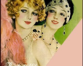 Fabric Block,Earl Christy, COTTON, 8x10 inch,Two flapper girls.