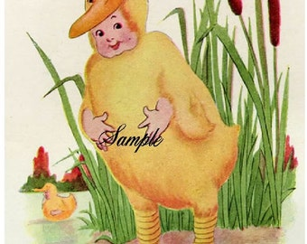 BABY  FIRST EASTER VINTAGE IMAGE REPRODUCED INTO 2 5X7 FABRIC BLOCKS