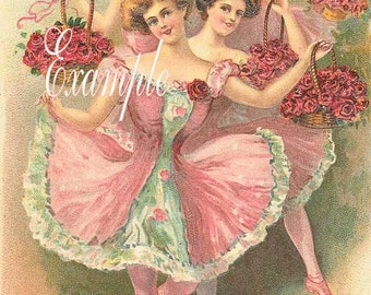 Digital Download,Ballerinas many in pink,Beautiful,Use for greeting  cards,place cards, altered art,sewing,framing,tags and more
