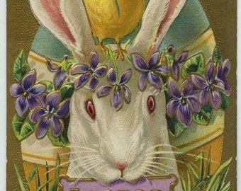 Digital download,Easter bunny with Easter sign in mouth,great for cards, decoupage, collage,sewing.ornaments