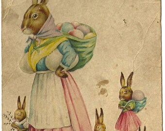 Fabric blocks,Easter mother rabbit and little ones,use for art projects, pillows,decoupage, collage,tags and more.