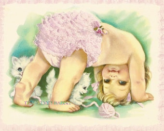 Baby with frilly pants and kitten FOUR 4 inch by 5 inch fabric blocks