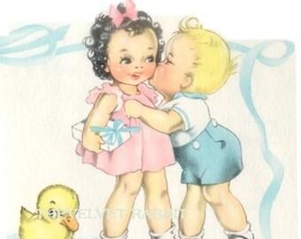 FABRIC BLOCKS(4)GIRL BOY KISSING JUST DARLING