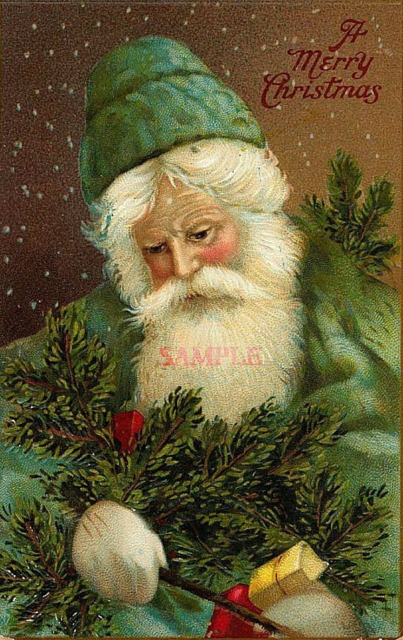 CHRISTMAS CARDS 24 WITH GREEN SANTA CLAUS CUSTOM DESIGNED FOR YOU