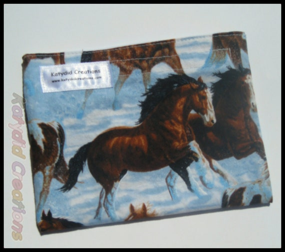 Eco Friendly Re-useable Snack Bag - Winter Horses - set of 2