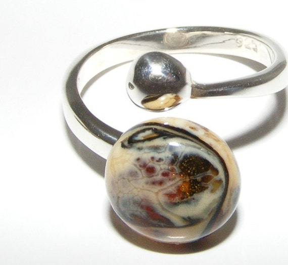 FINAL SALE Handmade Glass Cabachon Sterling Silver Adjustable Ring by The Craftier Side. SRA  BHV