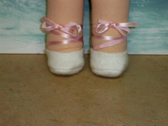 Waldorf doll shoes ballet slippers White and Pink ribbon fits 15inch  doll
