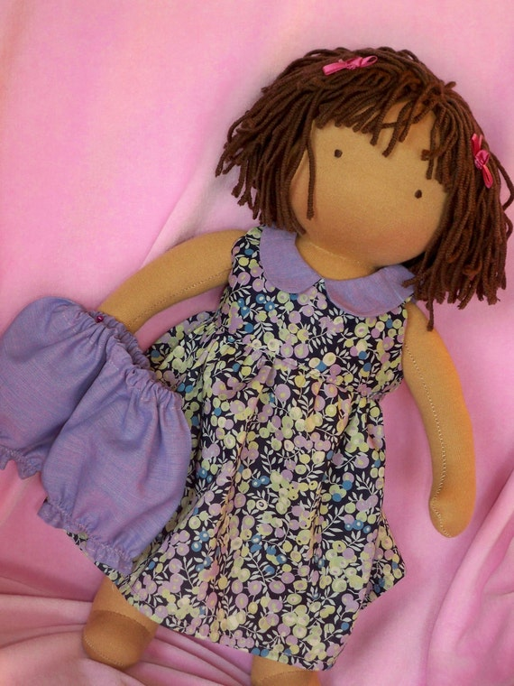 """Waldorf doll dress for a 15"""" to 16"""" doll 2 pc with Liberty fabric"""