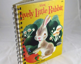 Lively Little Rabbit Upcycled Blank Journal