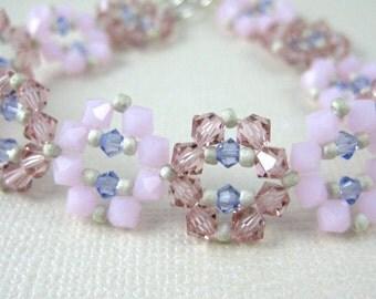 Spring Pink Sparkle Crystal Bracelet - Adjustable size