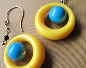 Turquoise and Tweet Vintage Dangle Hoop Earrings