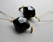 Black Geometric Earrings, 1970s Lucite Hexagon Beads with Tiny Brass Bullet Charms, Edgy Jewelry Vintage Modern by Glamourpuss Creations