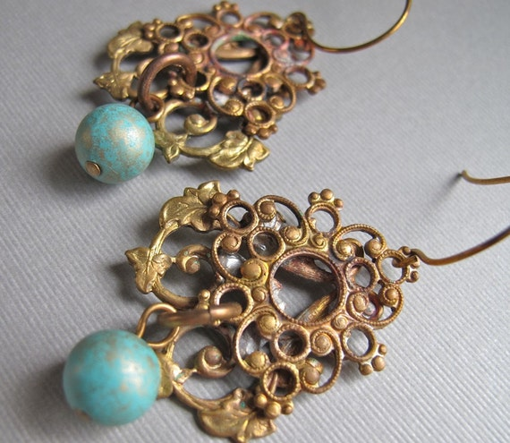Earrings Vintage Brass Charm Featured in THE DIG BOSTON Repurposed Jewelry, Verdigris Vixen by Glamourpuss Creations