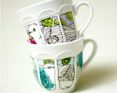 Bird in roses tea cup - aqua and light blue