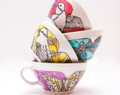love in times of cholera tea cup - aqua dragonflies