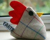 Tweed Cheeky chicken pincushion/paperweight