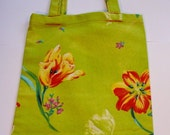 Lime Green and Tulip Print Tote
