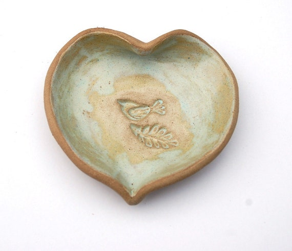 One Little Leaf, One Little Bird / Cream and Tan Open Heart Ceramic Dish