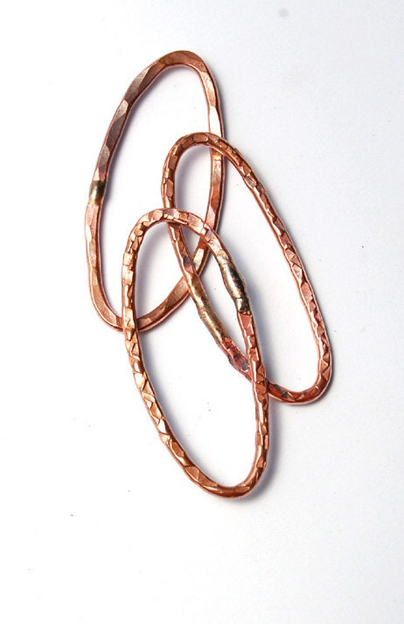 Oval Rings / Handmade Copper Rings / made to order