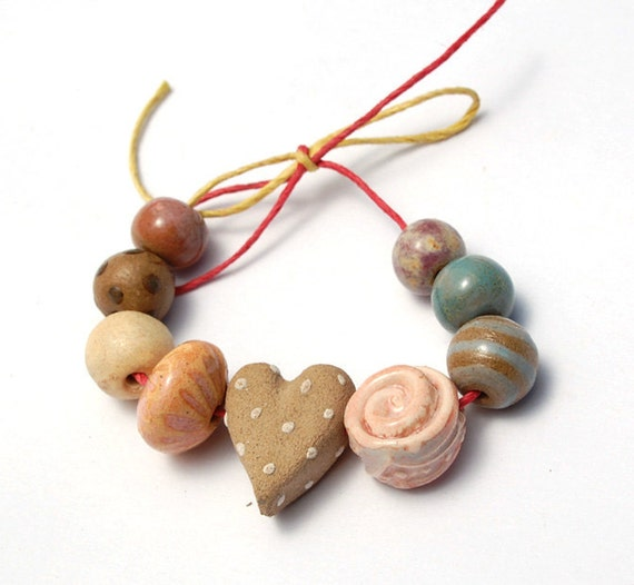RESERVED for the lovely MckeeJewelryDesigns / Love Crazy / Handmade Ceramic Heart Bead Set