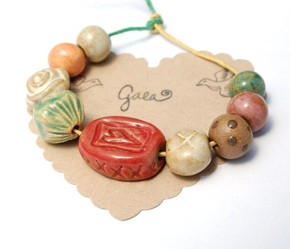 RESERVED for the lovely cara10 / Love Life / Heart and Rose Ceramic Bead Set