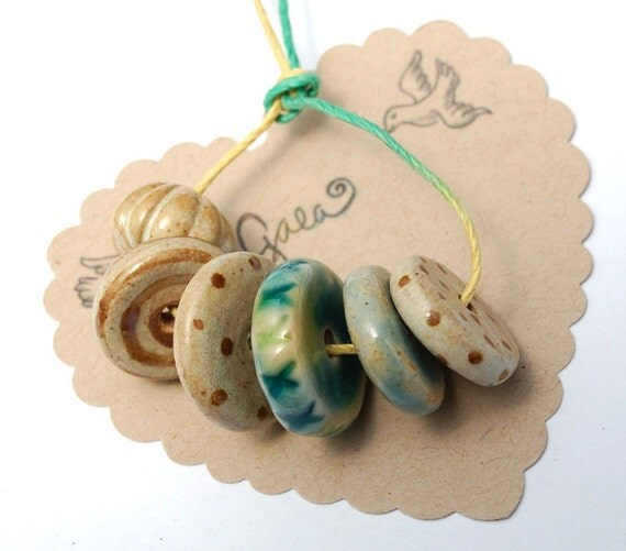 RESERVED for the lovely NancyP / Rare Earth / Blue and Tan Disk Bead Set