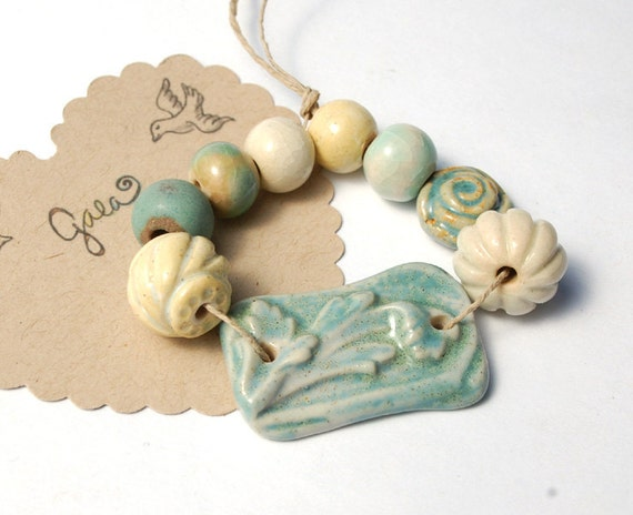 RESERVED for the lovely jettabugjewelry / Victorian Rose / Ceramic Link and Bead Set