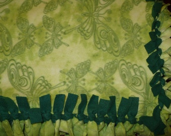 Green butterfly design SMALL size fleece tie blanket. Can be personalized