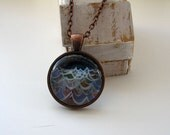 Night Ocean Waves - mini print necklace pendant and chain