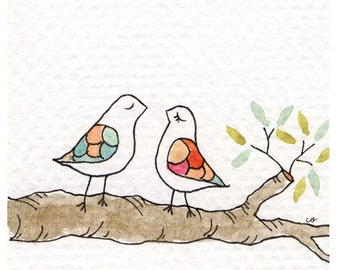 Love Birds - Greeting Card - Blank Inside with matching white envelope