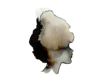 Portrait of a Lady - Fine Art Print - watercolor sillhouette