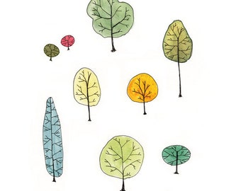 Watercolor Painting - Tree Family Art Print - trees nature watercolor painting reproduction archival