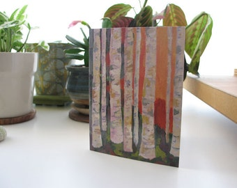 Birch Trees Art greeting card - blank inside with matching white envelope