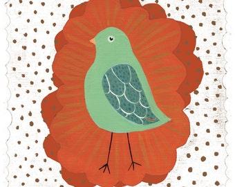 Little Mint Green Bird Art Print - on white