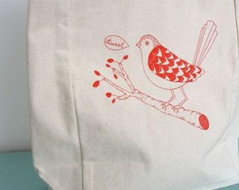 Bird Tweet Canvas Tote Bag