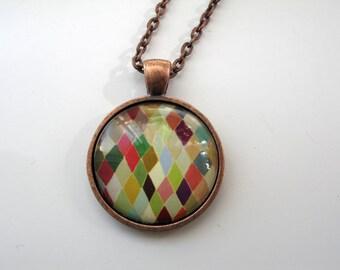 Colorful Diamonds - mini print necklace pendant and chain